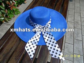 paper straw beach hat with ribbon