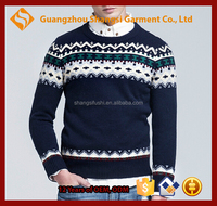 guangzhou men striped arztec print navy blue crewneck wool pullover sweater