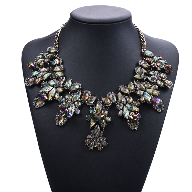 wholesale multi shell beaded statement necklace vintage big jewelry