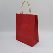 Hot Sale Red Color Brown Kraft Paper Handle Gift Bags