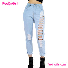 2016 Sample Free Light Blue Hole Women Ripped Bulk Jeans Pent Style