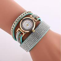 New fashion wrap bracelet watch crystal rhinestone long leather women quartz watches