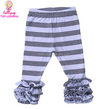 Wholesale Ruffle Pant Grey & White Stripes legging baby sew sassy pant stretch children Ankle Length Legging cotton icing Pants