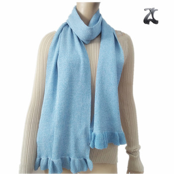 Fashionable girls christmas blue stretch knit scarf for women ladies new design