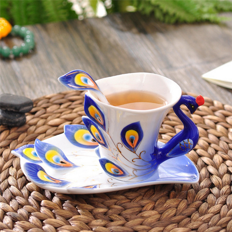 Peacock Coffee Cup Ceramic Creative Mug Bone China 3D Color Enamel Porcelain Saucer Spoon Coffee Tea Sets for friend Gift
