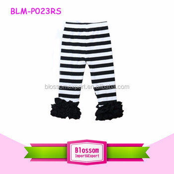 USA Girl ruffle icing black white stripe cotton legging baby icing ruffle newborn new design children wear solid striped pants