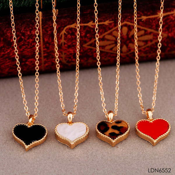 Cute couple love heart enamal Valentine's Day pendant necklace