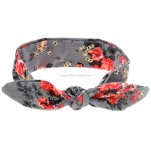 HAOXIE Fashion rose patten girl headband bows for wholesale hair elastic band Girls' Hair Decor bands for women