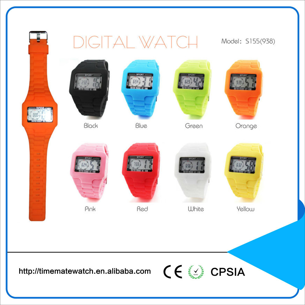 Customized colorful waterproof sport wristwatch silicone watch with square dial