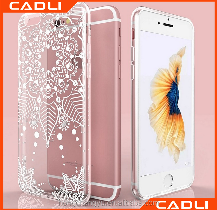 2016 flower pattern silicone crystal tpu case for iphone 6 iphone6s case cover