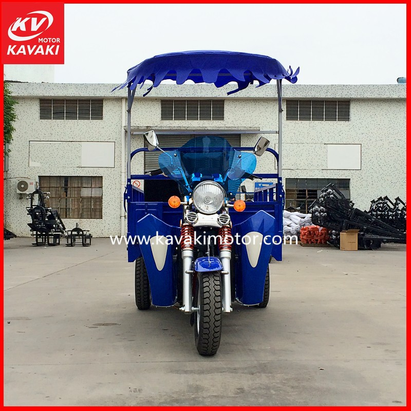 guangzhou fashional 2015 Chinese Hot Sale Cute KV 150ZH-A Blue Sunshade Three Wheel Tricycle Electric Start Adult Cargo Tricycle