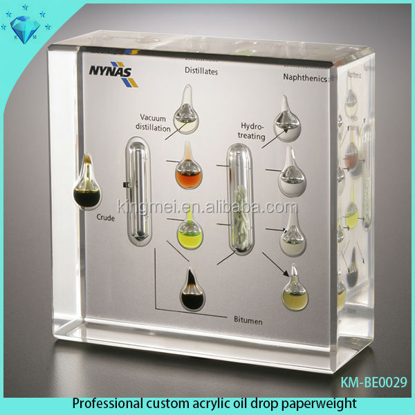 Professional custom acrylic oil drop paperweight