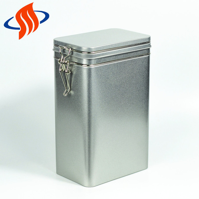 wholesale sliver metal custom printed rectangle tea gift packing coffee hinged tin box
