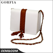 Wholesale Guangzhou tassels design brand name latest styles ladies handbag with long chain