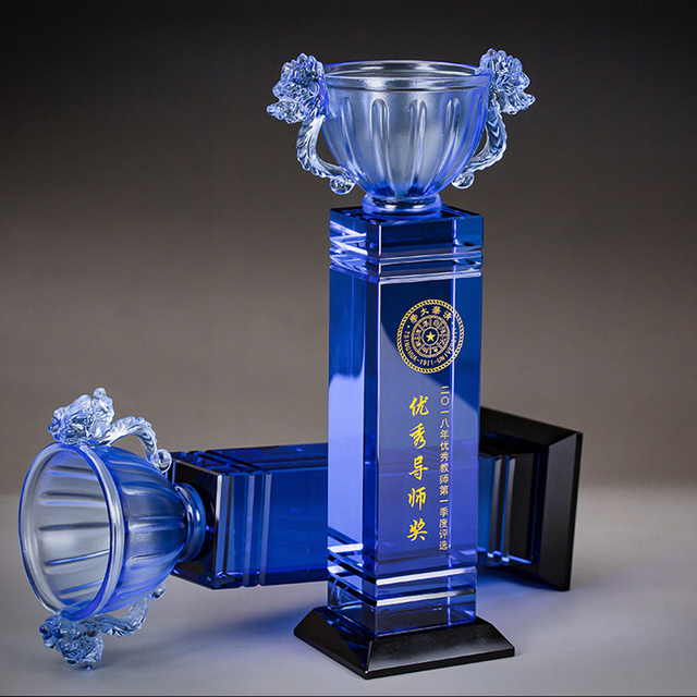 New design crystal cup award color / liuli trophy / glass trophy/clear blue crystal award liuli plaque