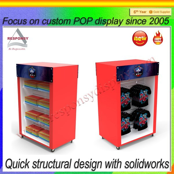 Fashion Design Wood Child Clothing Display Case With Four Wheels For Shopping Mall
