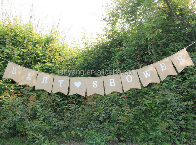 Baby Shower Swallowtail Design Bunting Cheap Burlap Banner Wholesale (DR-028)