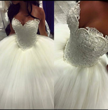 Full Pearls Puff Ball Gown Wedding Dress With Sweetheart Neckline 2016 New Wedding Dresses CWF2383