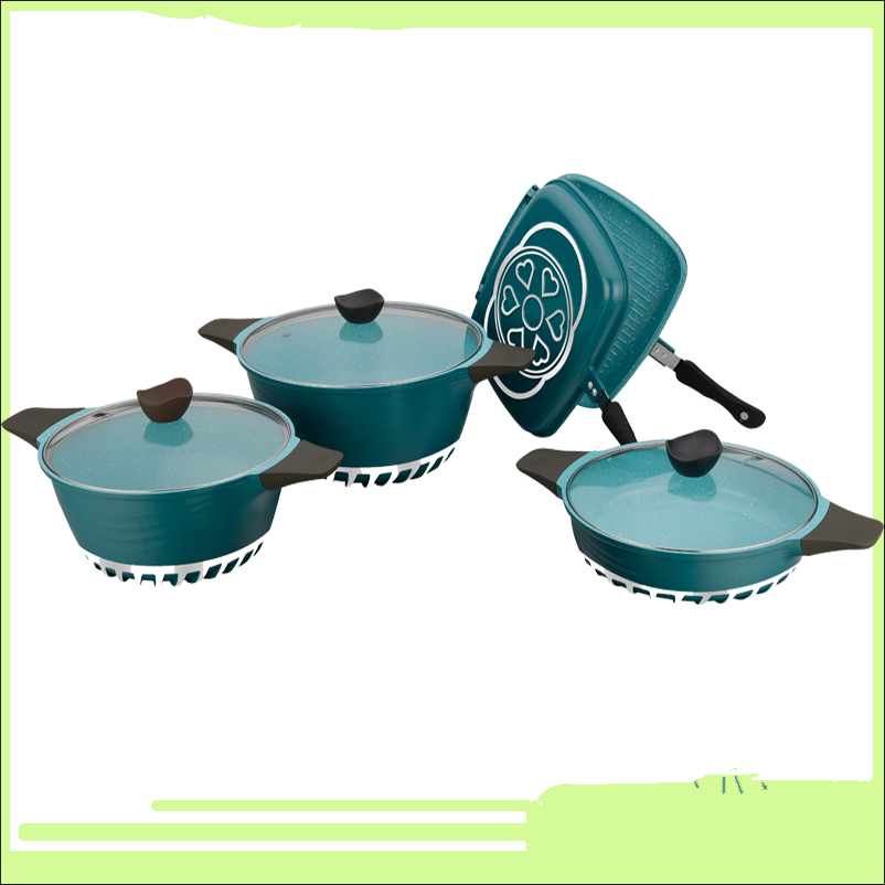 curce series cast aluminum cookware with tempered glass lid