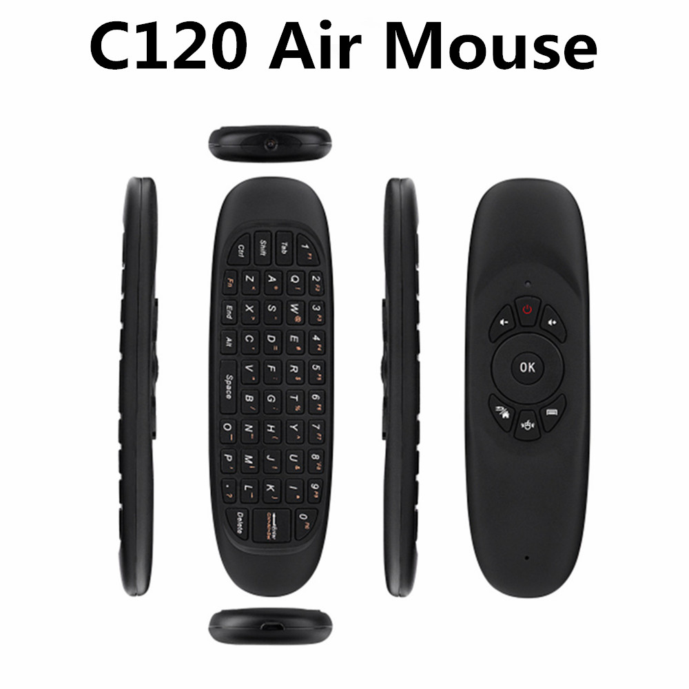 BoxKing 2.4g Chargable Dual Side 3d Wireless Air Fly Mouse Mini Keyboard C120 Air Fly Mouse Remote for TV Box