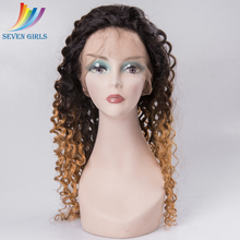 1B/27 Blonde Ombre Color Deep Curly 20 Inches 130% Density Virgin Human Hair Silk Base Full Lace Wig
