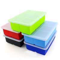 Food Storage Freezer Mold, 6 Cavities Square Silicone Ice Cube Tray with Lid