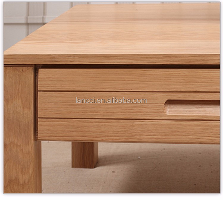 Pure solid wood coffee table oak four drawer coffee table