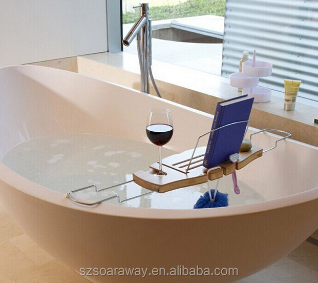 bamboo bathtub caddy with tablet book pad phone holder