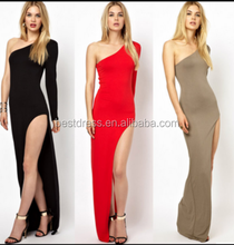 Summer Dress Walson Apparel Sexy bandage clubwear Ladies One Shoulder Long Sleeve Side Open Fork Maxi Ball Gown Long dress
