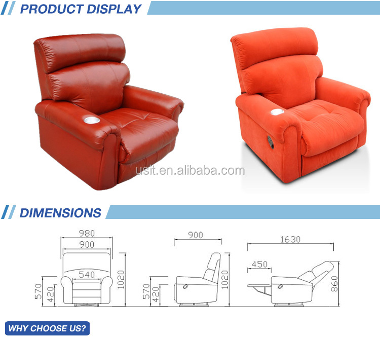 UV853A luxury electric leather sofa recliner