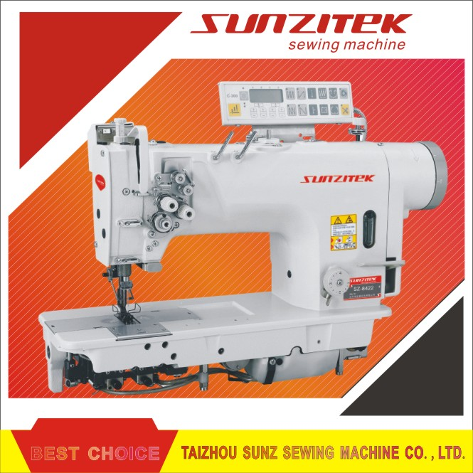 Direct drive double needle lockstitch industrial sewing machine