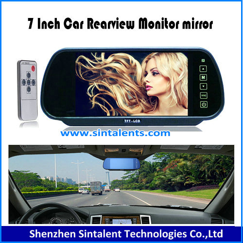 "7"" Car Mirror Reverse 2 Video RCA AV Color Display Rear View TFT LCD Monitor CA"