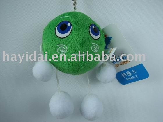 Plush green ball keychain/Cute soft green doll(CE)