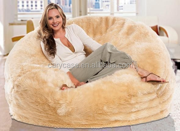 couple fur cream lounger beanbag, round bean bag cushion bed and sac, indoor longer