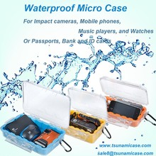 Tsunami Waterproof Orange Micro outdoor survival tool storage kit case with Clear Lid for Huawei phone