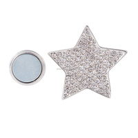 New Design Magnetic Brooch Scarf Clip Star Brooch Rineston Brooch Pins Silver Plated MB-001
