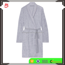 Gray Cotton Blend Terry Fabric Ladies Loungewear One Piece Home Wearing Warm Robe with Twill Belt