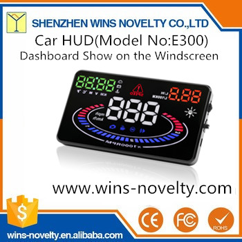 5.5'' Large Screen E300 Car HUD OBD2 Solid Effect Head Up Display Speeding Warning Plug &Play Windshield LED Show