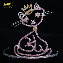 Pageant Rhinestone Tiara Cat Design Crystal Crown