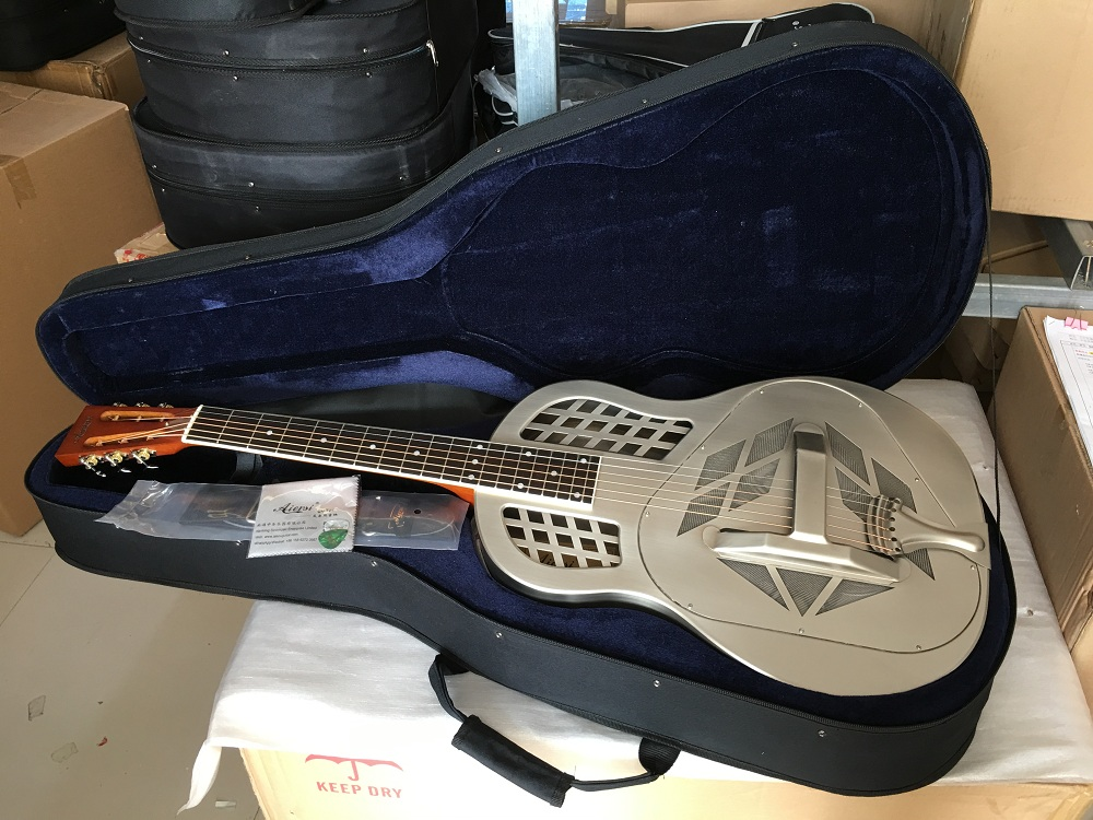 Aiersi Merk Chrome plated Bell Messing Tricone Resonator Gitaar