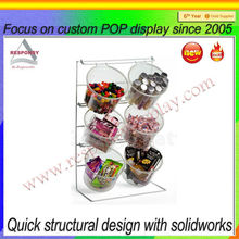 Custom new products 6 buckets junk food metal candy display racks for promotion
