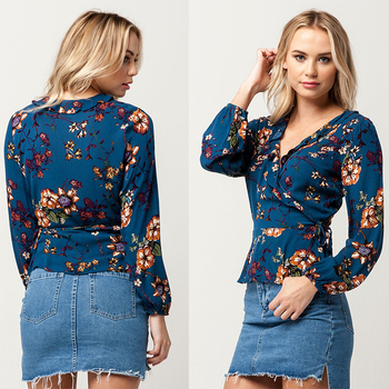 Latest Long Sleeve New Design Floral Printed Tops