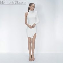 A150 fashion sexy women high quality mini length side split one shoulder short white dress