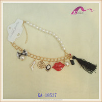 Fashionable ladies red lips tassel pendant pearl necklace boe necklace