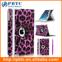 Women Fashion 360 Rotating Purple Leopard Print PU Leather Case For iPad Air