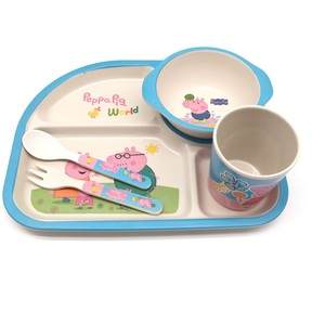 Pig design Eco-friendly tableware baby bamboo fiber dinner set