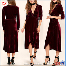 Hot Selling Beautiful Long Sleeve Midi Wrap Velvet Dresses Ladies Fashion Clothing Names Of Ladies Dresses