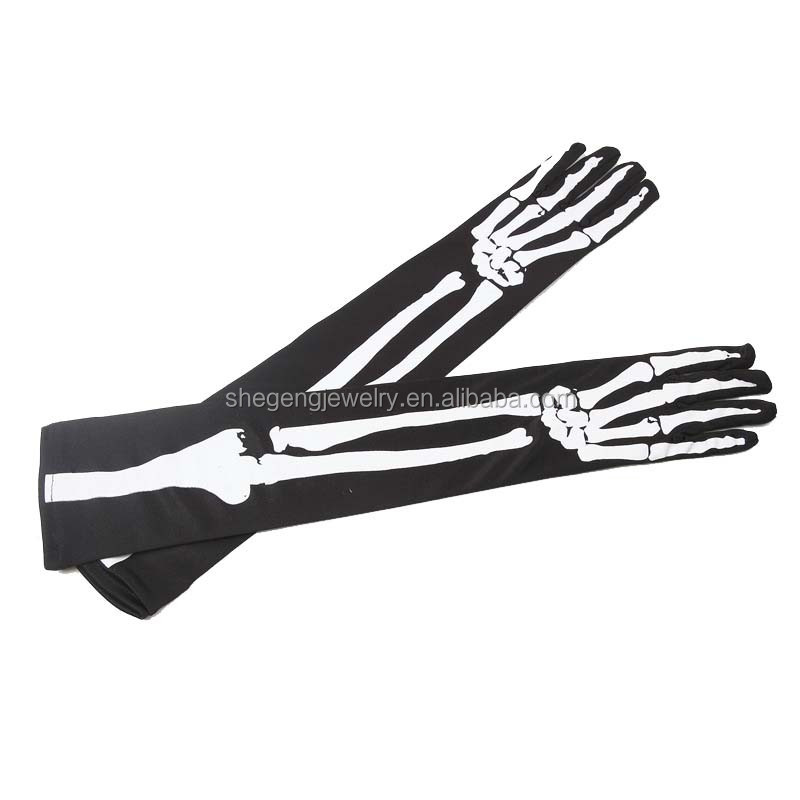 44CM Long Skeleton Costume Accessory Adult Halloween Gloves