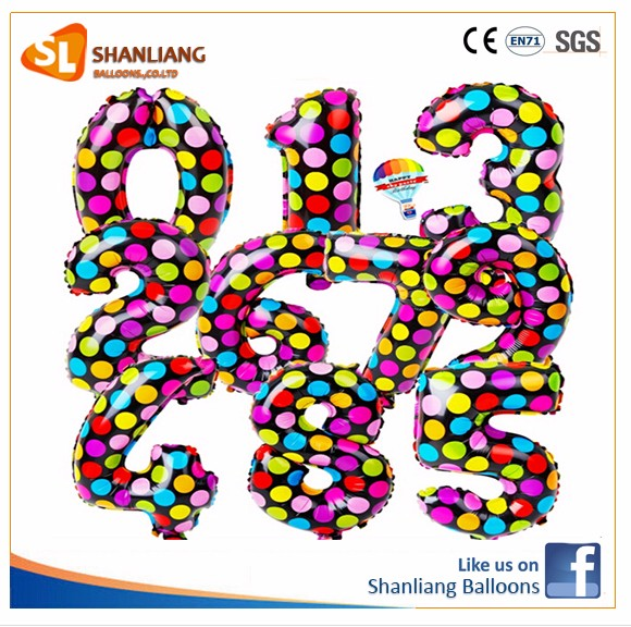 Dots Colorful Number Foils, Theme Party Wedding Decorate Balloons