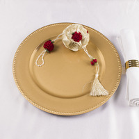 2018 New products Wholesale cheap plastic Gold Wedding Charger Plates dinner plate